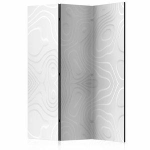 Vouwscherm - Kamerscherm -  Witte golven 135x172cm, gemonteerd geleverd, dubbelzijdig geprint