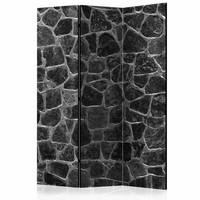 Vouwscherm - Kamerscherm - Zwarte stenen 135x172cm), dubbelzijdig geprint, geheel gemonteerd geleverd