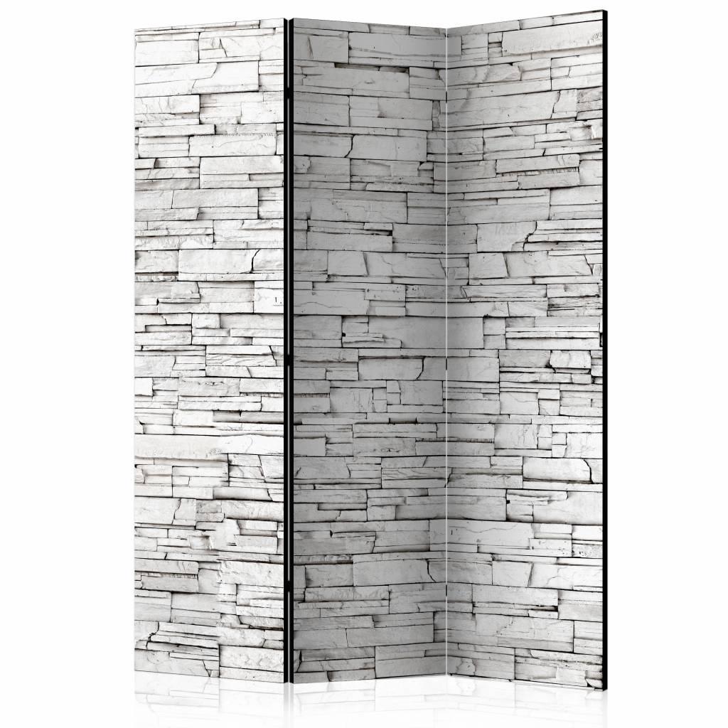 Vouwscherm - Kamerscherm - Witte muur 135x172cm, gemonteerd geleverd