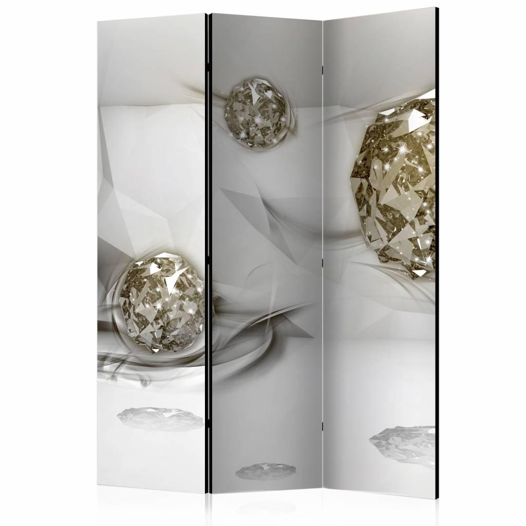 Vouwscherm - Abstracte diamanten 135x172cm , gemonteerd geleverd (kamerscherm)