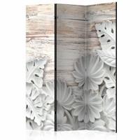 Vouwscherm - Bloemen op hout 135x172cm