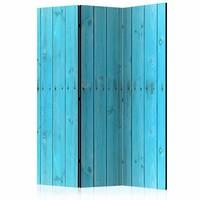 Vouwscherm - Blauwe schutting 135x172cm, gemonteerd geleverd (kamerscherm)  dubbelzijdig geprint