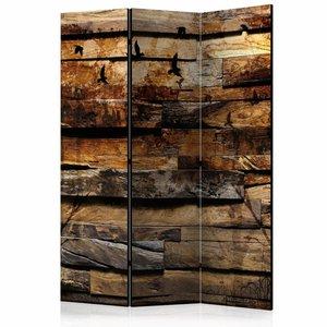 Vouwscherm - Vogels op houten schutting 135x172cm