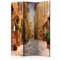 Vouwscherm - Straatje in Toscane 135x172cm, gemonteerd geleverd (kamerscherm) dubbelzijdig geprint