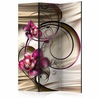 Vouwscherm - Orchidee met krullen 135x172cm, gemonteerd geleverd (kamerscherm)