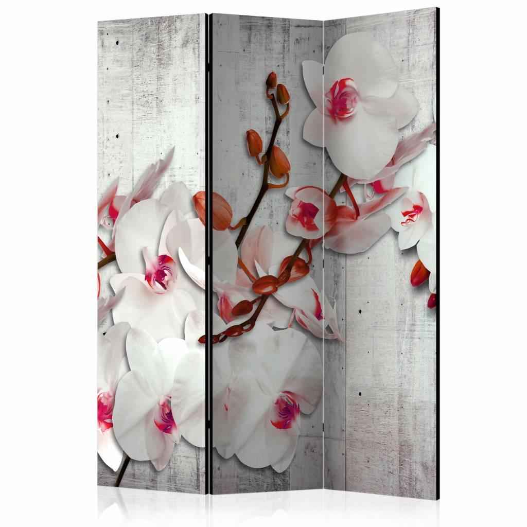Vouwscherm - Orchidee op beton 135x172cm