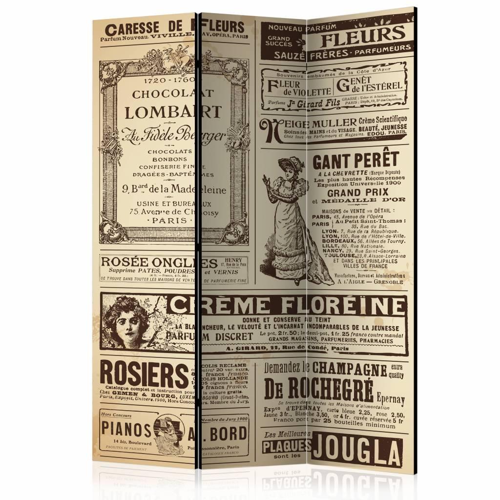 -20% SALE | Vouwscherm - Vintage krant 135x172cm