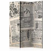 Vouwscherm - Vintage krant 135x172cm