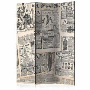 Vouwscherm - Vintage krant 135x172cm, gemonteerd geleverd (kamerscherm) dubbelzijdig geprint