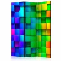 Vouwscherm - Kleurrijke vierkanten 135x172cm, gemonteerd geleverd (kamerscherm)