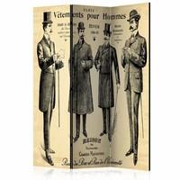 Vouwscherm - Heren in Parijs 135x172cm