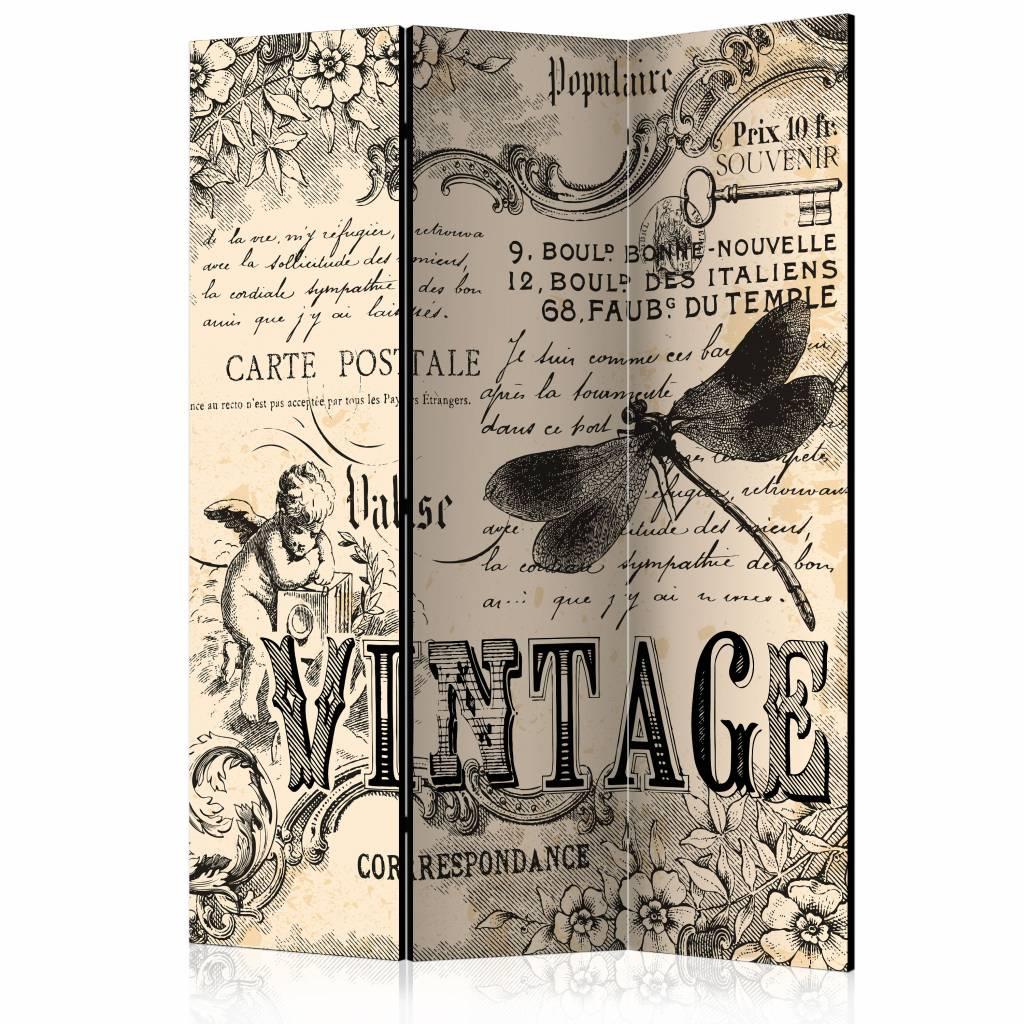 Vouwscherm - Vintage correspondentie 135x172cm/