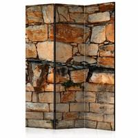 Vouwscherm - Stenen Kamerscherm (canvas) 135x172cm , gemonteerd geleverd (kamerscherm) dubbelzijdig geprint