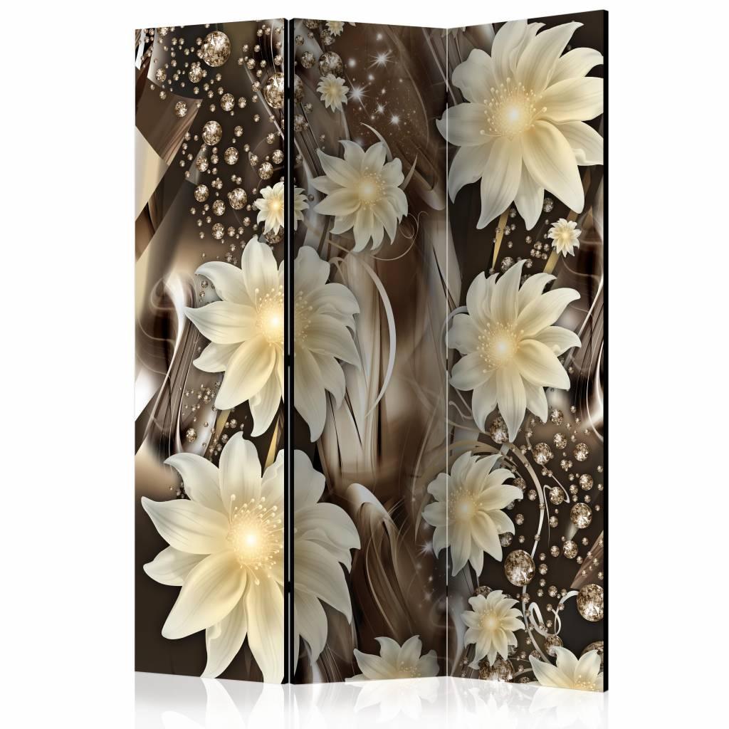 Vouwscherm - Bloemen op brons 135x172cm , gemonteerd geleverd (kamerscherm) dubbelzijdig geprint
