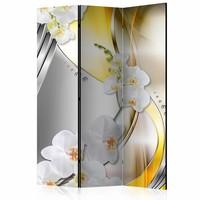 Vouwscherm - Bloemen op geel 135x172cm , gemonteerd geleverd (kamerscherm) dubbelzijdig geprint