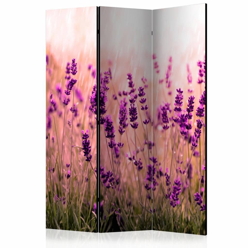 Vouwscherm - Lavendel in de regen 135x172cm