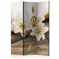 Vouwscherm - Witte bloem 135x172cm , gemonteerd geleverd (kamerscherm) dubbelzijdig geprint