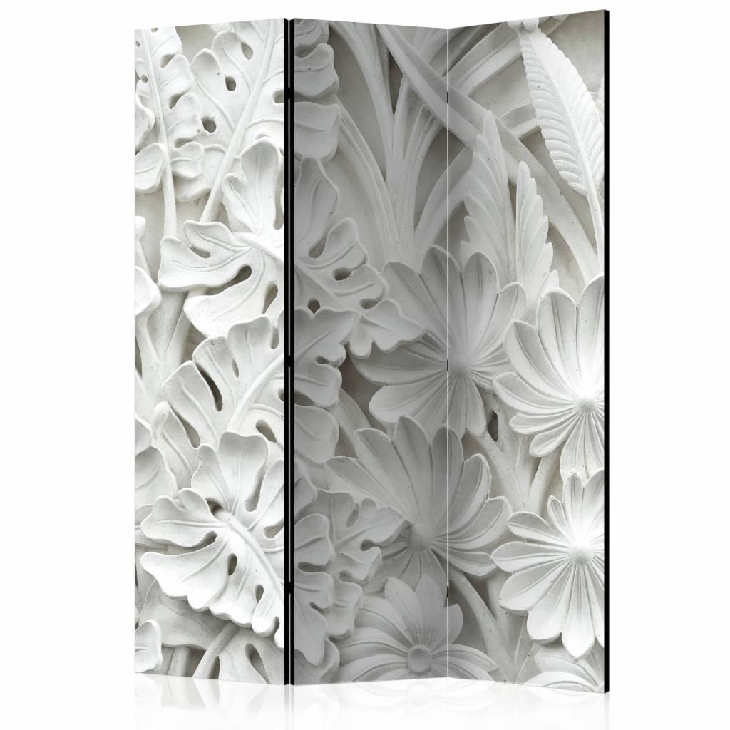 Vouwscherm - Bloemen in het wit 135x172cm