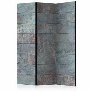 Vouwscherm - Turquoise Beton 135x172 cm , gemonteerd geleverd (kamerscherm) dubbelzijdig geprint