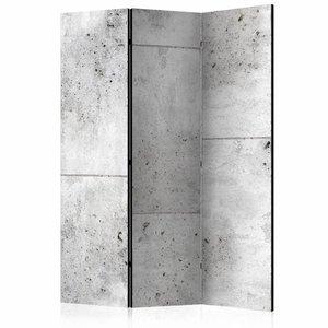 Vouwscherm - Muur van Beton 135x172 cm , gemonteerd geleverd (kamerscherm) dubbelzijdig geprint
