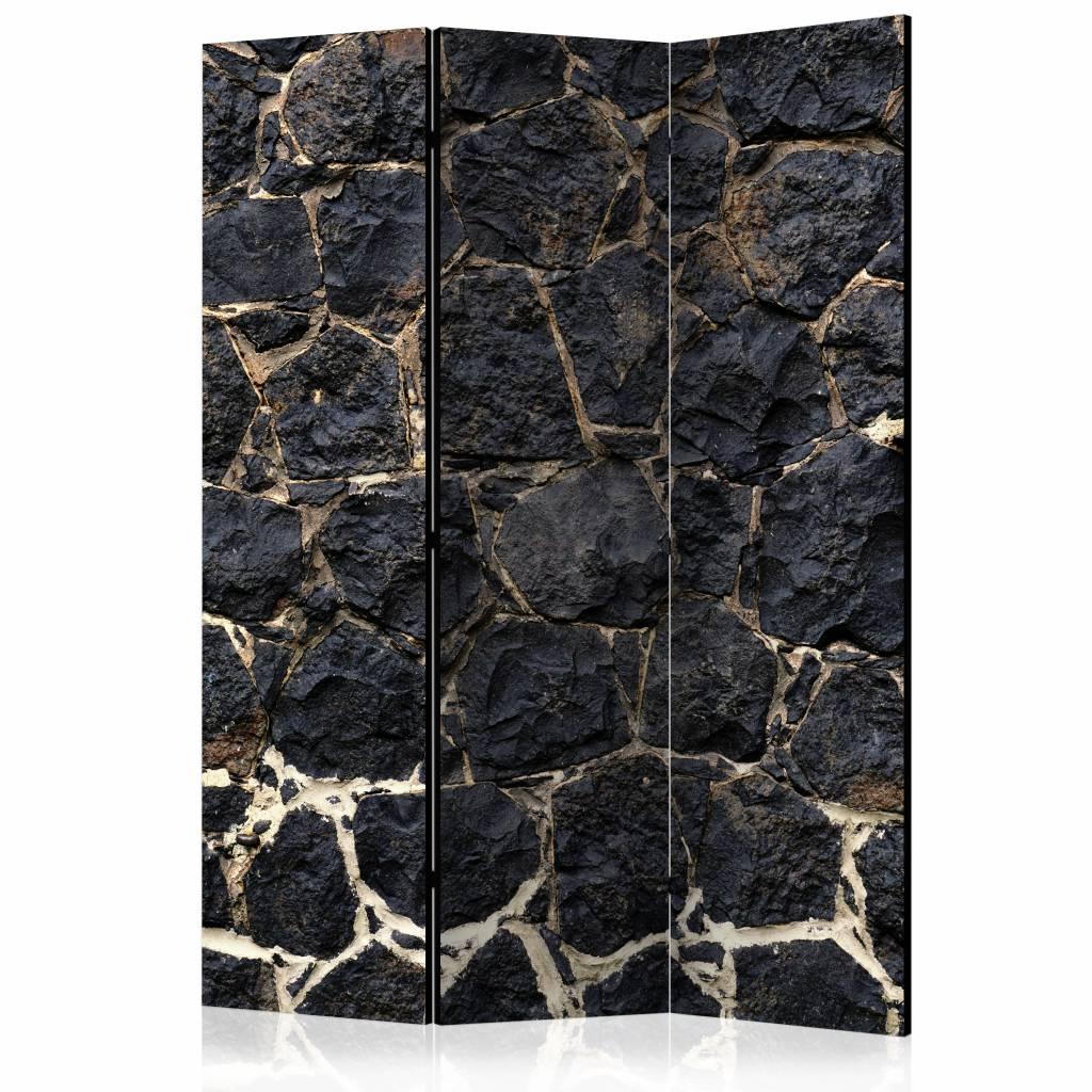 Vouwscherm - Stenen muur na zonsondergang 135x172 cm