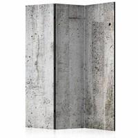 Vouwscherm - Grijze wand van beton 135x172 cm , gemonteerd geleverd (kamerscherm) dubbelzijdig geprint