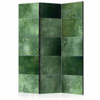 Vouwscherm - Groene puzzel 135x172 cm , gemonteerd geleverd (kamerscherm) dubbelzijdig geprint