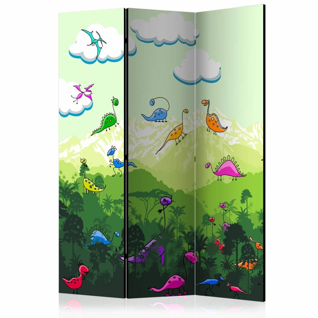 Vouwscherm - Kleurrijke dinosaurussen 135x172cm