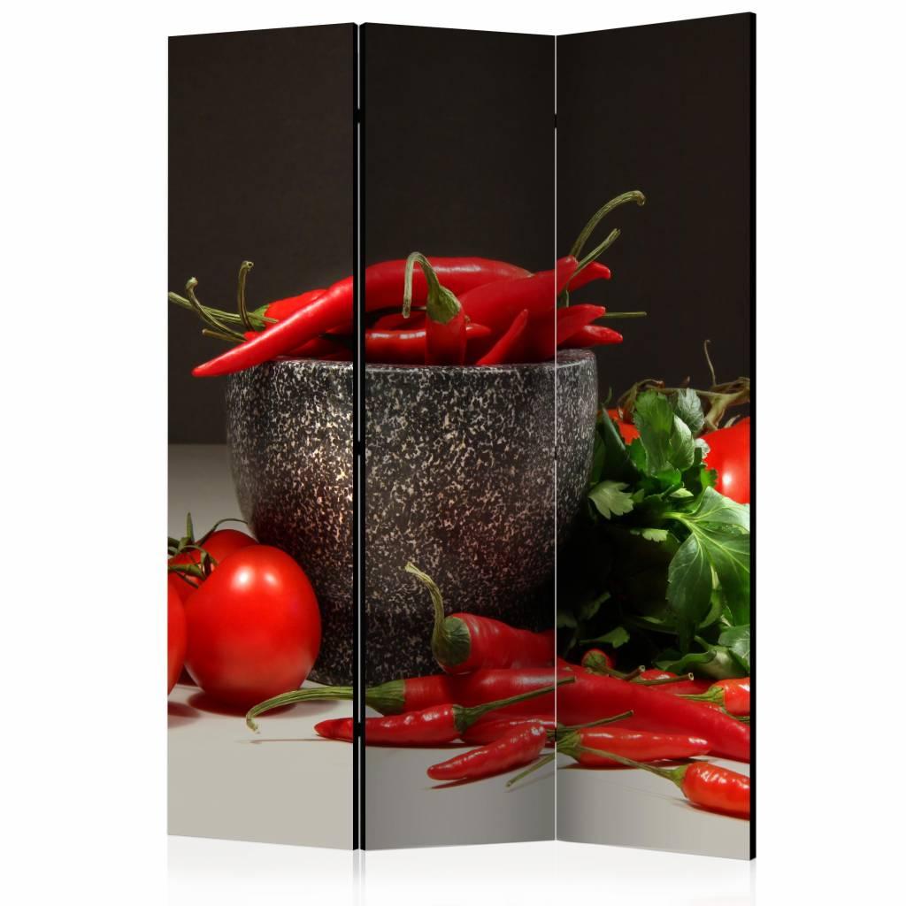 Vouwscherm - Rode pepers 135x172cm