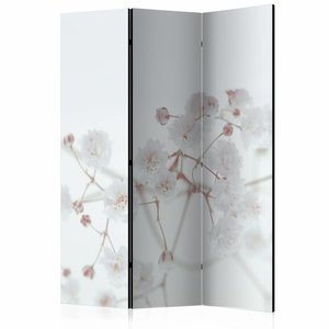 Vouwscherm - Witte bloemen 135x172cm, gemonteerd geleverd, dubbelzijdig geprint (kamerscherm)
