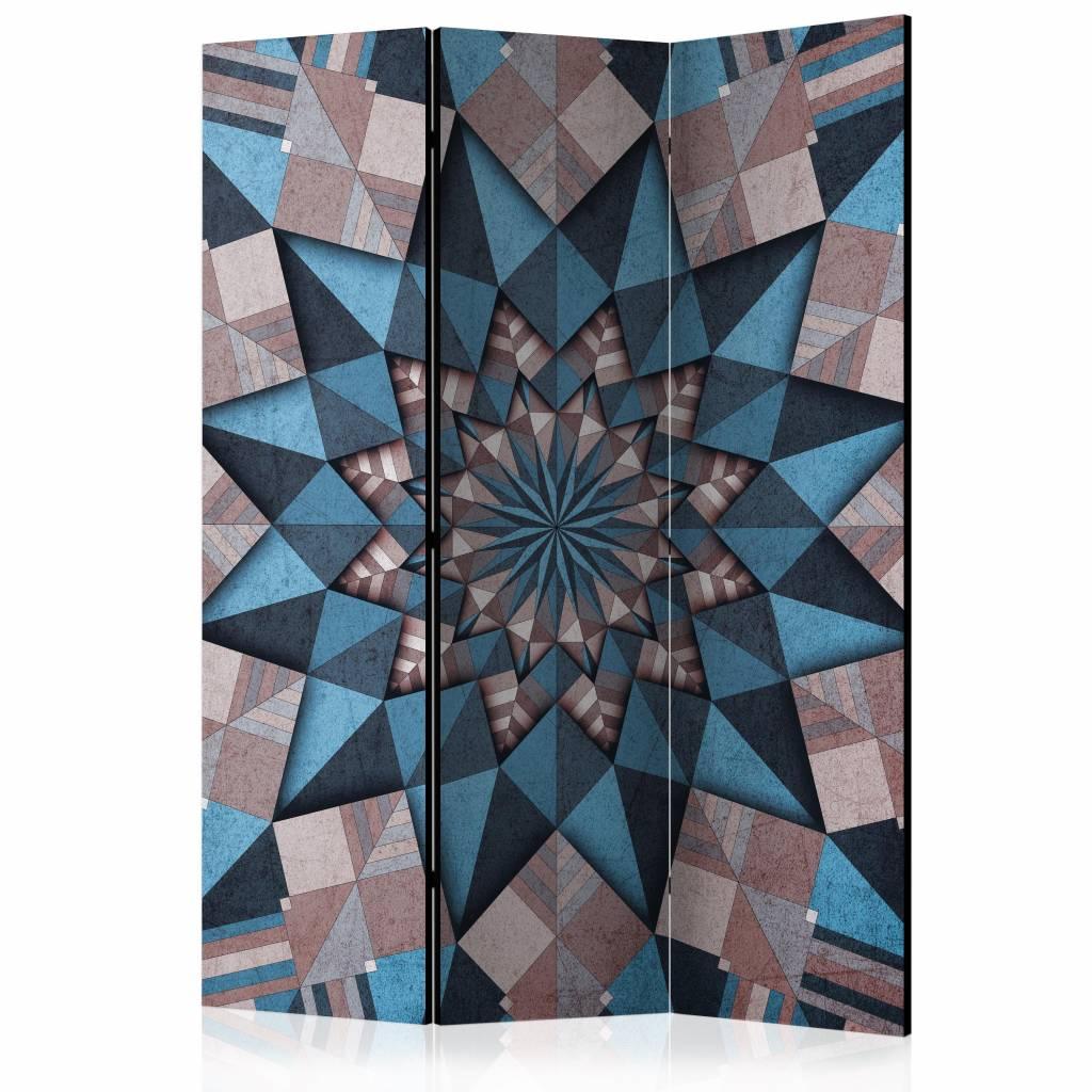 Vouwscherm - Star Mandala (Bruin-blauw) 135x172cm