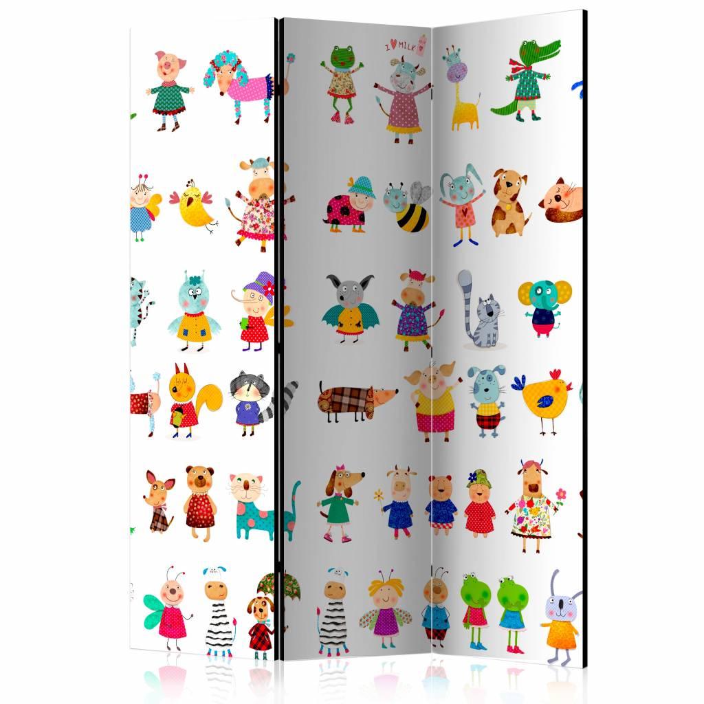 Vouwscherm - Cartoon huisdieren 135x172cm