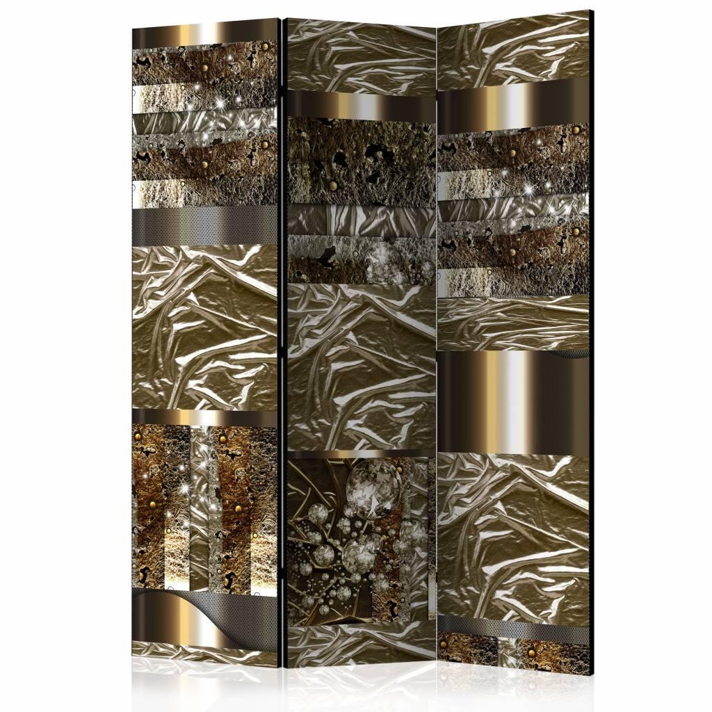 Vouwscherm - Goudkleurige fantasie 135x172 cm
