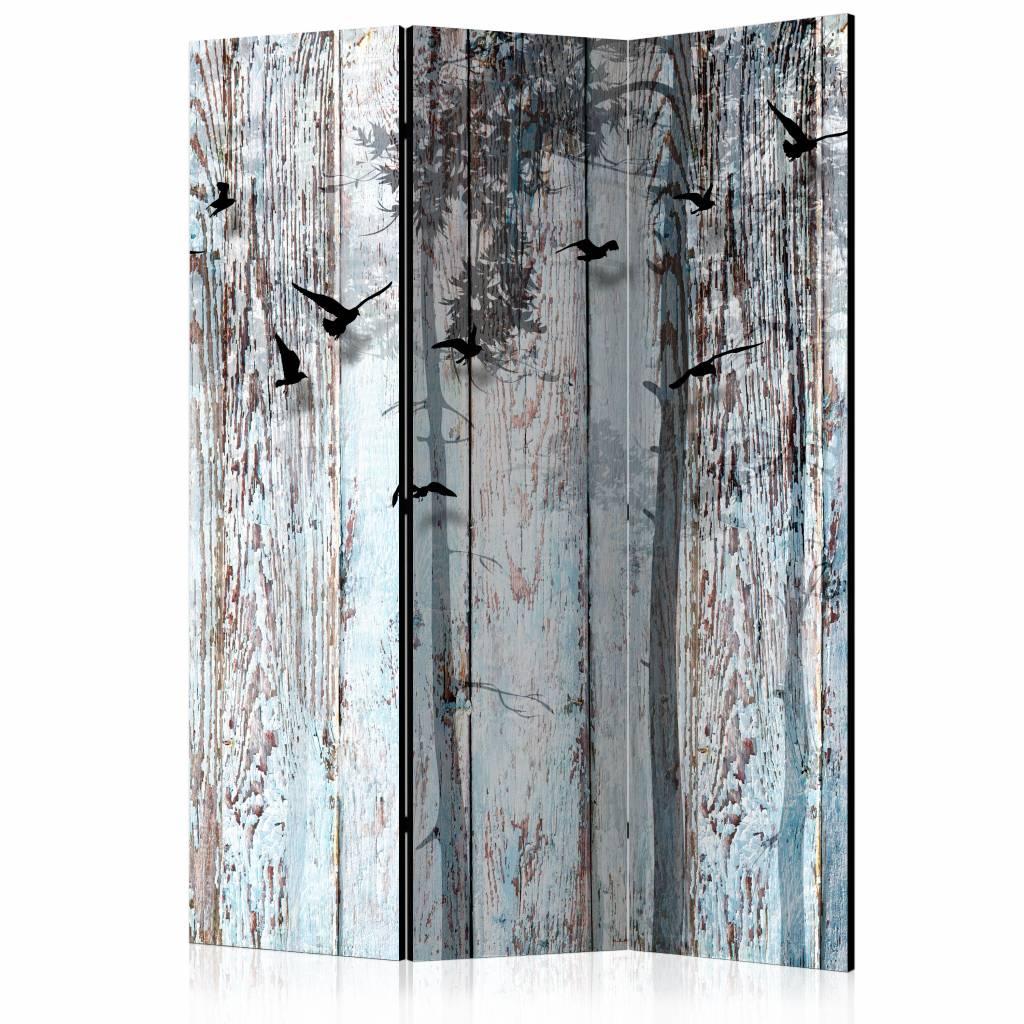 Vouwscherm - Rustieke planken 135x172cm, gemonteerd geleverd, dubbelzijdig geprint (kamerscherm)