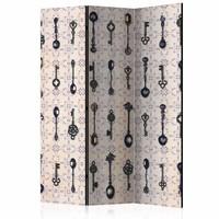 Vouwscherm - Zilveren lepels in retro style 135x172 cm