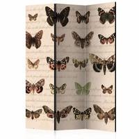Vouwscherm - Vlinders in retro style 135x172 cm , gemonteerd geleverd (kamerscherm)