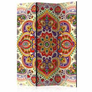 Vouwscherm - Gekleurde Mandala 135x172 cm , gemonteerd geleverd (kamerscherm) dubbelzijdig geprint