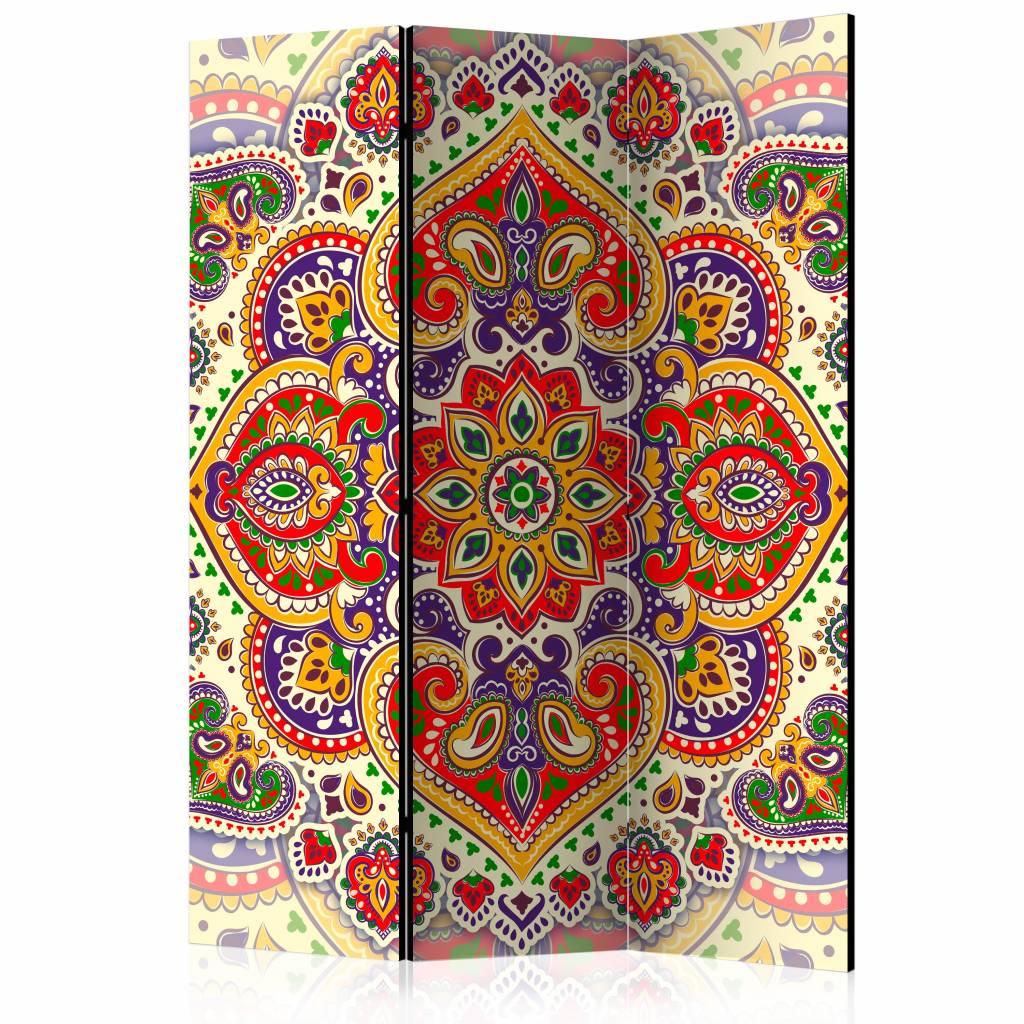Vouwscherm - Gekleurde Mandala 135x172 cm