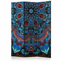 Vouwscherm - Blauwe Mandala 135x172 cm , gemonteerd geleverd (kamerscherm) dubbelzijdig geprint