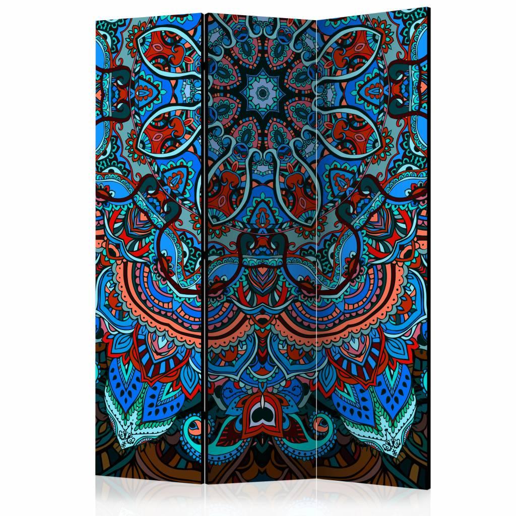 Vouwscherm - Blauwe Mandala 135x172 cm