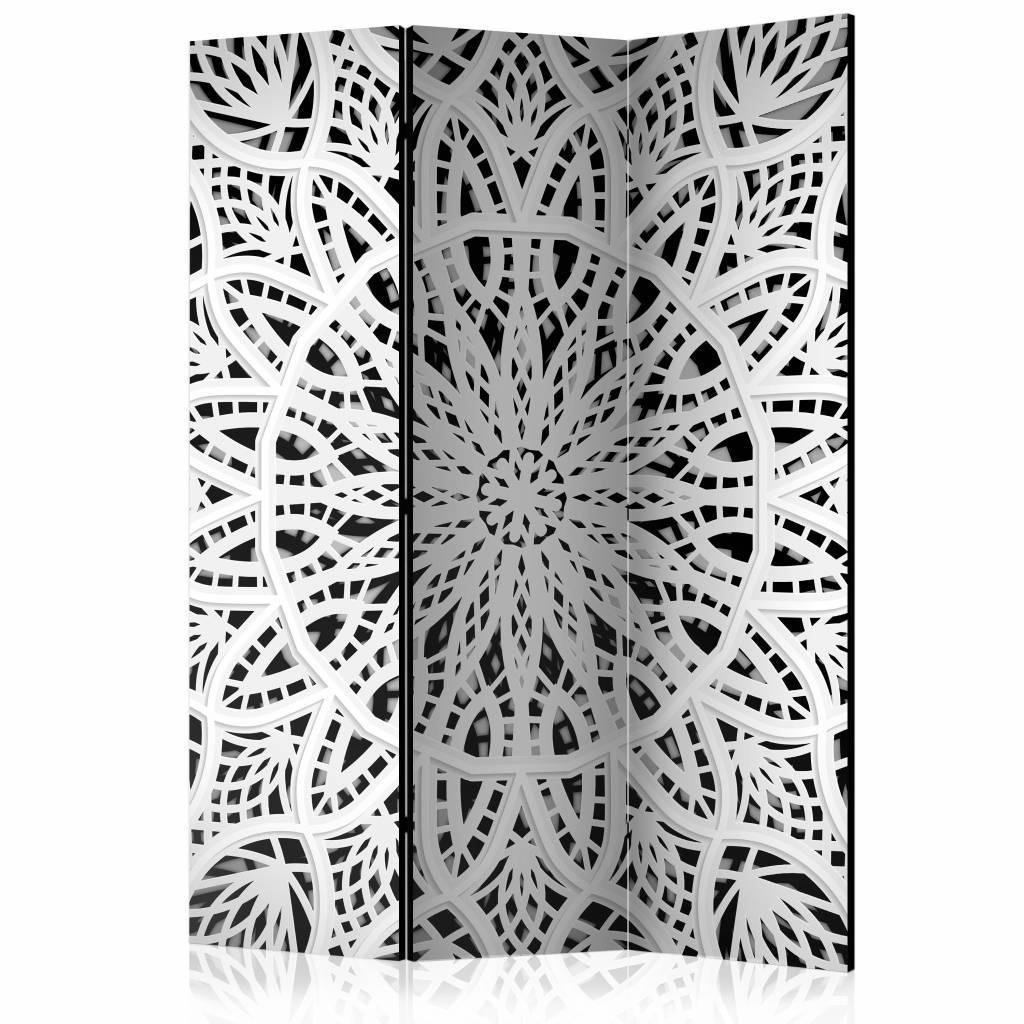 Vouwscherm - Witte mandala 135x172 cm