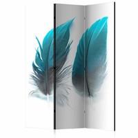 Vouwscherm - Blauwe veren 135x172 cm , gemonteerd geleverd (kamerscherm) dubbelzijdig geprint