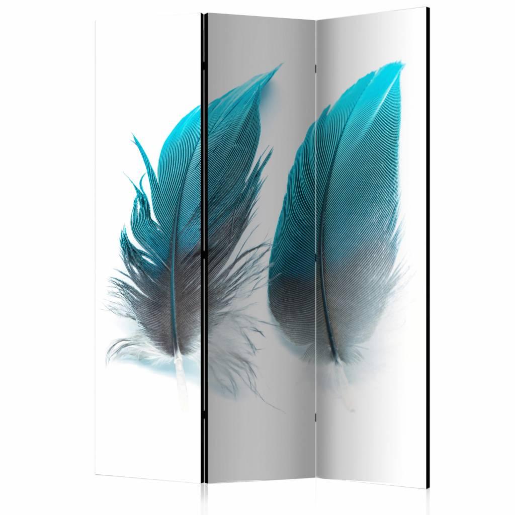 Vouwscherm - Blauwe veren 135x172 cm