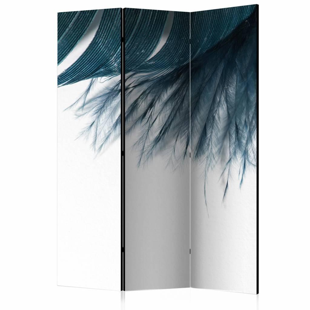 Vouwscherm - Donker blauwe veer 135x172 cm