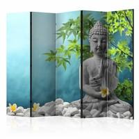 Vouwscherm - Mediterende Boeddha 225x172cm , gemonteerd geleverd (kamerscherm)