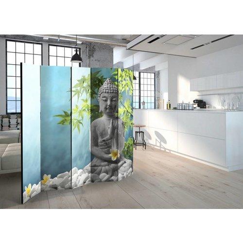 Vouwscherm - Mediterende Boeddha 225x172cm