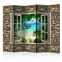 Vouwscherm - Uitzicht op tropisch strand 225x172cm , gemonteerd geleverd (kamerscherm)