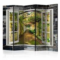 Vouwscherm -Uitzicht op geheime tuin 225x172cm , gemonteerd geleverd (kamerscherm) dubbelzijdig geprint