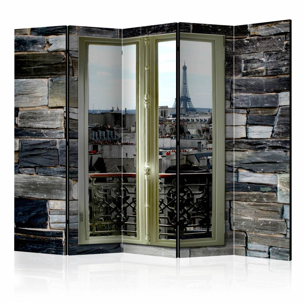 Vouwscherm - Uitzicht op Parijs 225x172cm , gemonteerd geleverd (kamerscherm) dubbelzijdig geprint