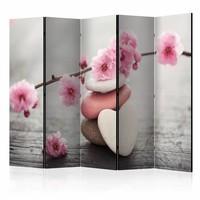 Vouwscherm - Zen bloemen 225x172cm , gemonteerd geleverd (kamerscherm)